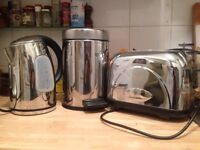 Kettle (Breville), (Russell Hobbs) and small bin - all stainless steel/chrome