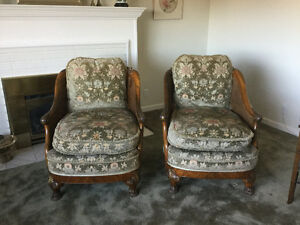 ANTIQUE FRENCH BERGERE SOFA AND 2 CHAIRS
