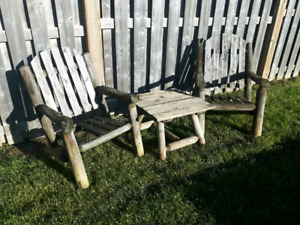 Outdoor Rustic Log Chairs and Table.