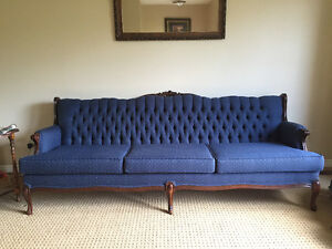 Beautiful Antique Blue Couch & Chair