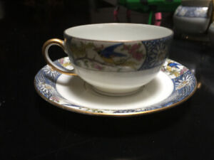 3 Antique (1890-1910) Jean Pouyat Porcelain Teacups with Saucers