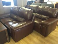 3+2 brown leather suite-good condition-ONLY £270--delivery available!!!