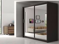 BRAND NEW 203CM FULLY MIRRORED 2 SLIDING DOORS BERLIN WARDROBE **SAME DAY DELIVERY**