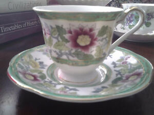 TEA CUP AND SAUCER HAND PAINTED  JAPAN -- GIFT IDEA