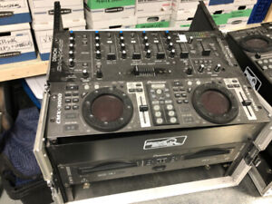 DJ CONSOLES WITH DUAL CD PLAYERS AND MIXER