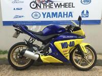 2012 YAMAHA YZF-R125 BLUE/YELLOW WD40 GRAPHICS, VERY LOW MILEAGE, RIDE AWAY T