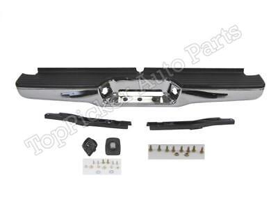 Rear Step Bumper Chrome Full Assy W/Hitch Bracket Pad For 1993-1998 T100 Pickup (Full Step Pad)