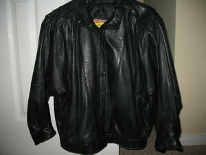 "Womens Black Leather Jacket ""Old Hide House"" - S"