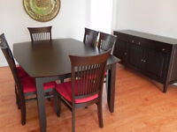 CANADEL dining room table, chairs and buffet