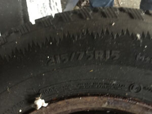 Winter tires and rims 300 almost new 215/75R15