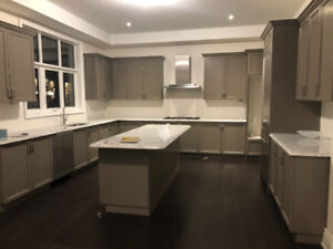 Brand New Kitchen with Carrara Marble Countertop