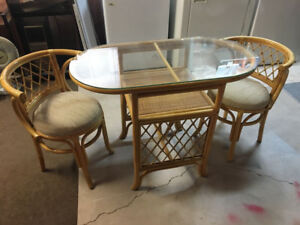Glass Top Wicker Table with 2 Fabric Covered Chairs