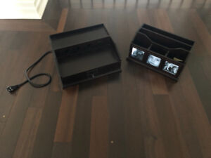 POTTERY BARN OFFICE ACCESSORIES CHARGING STATION 2pc ESPRESSO