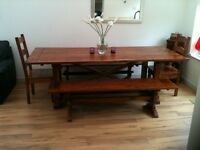 Beautiful Solid wood table, benches & chairs