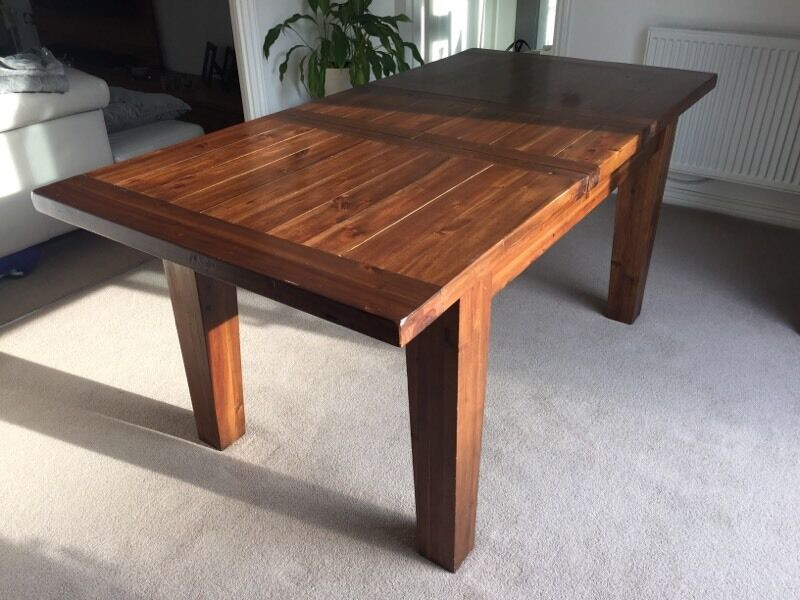 Solid Dark Wood Extending Dining Table And 6 Chairs