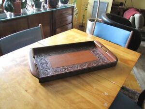 Peruvian wood & leather serving tray