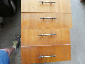 Mahogany faced plywood cabinet doors and drawers.