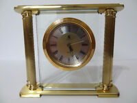 ON SALE- BIRKS BRASS PILLAR MANTLE DESK CLOCK UNIQUE