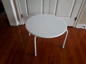 Small white round metal Table