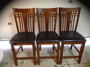 Wooden high back bar chairs