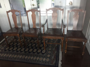 Four Solid Oak Chairs
