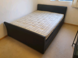 King Size Black Leather Bed Under Storage Draws & Mattress 6' Double