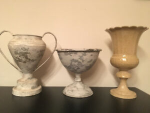 PRICE REDUCED 3 Metal Planters/Plant Pots/Urns