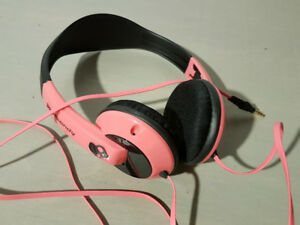 Skullcandy headphones in hot pink