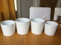 4 Ikea White Plant pots.