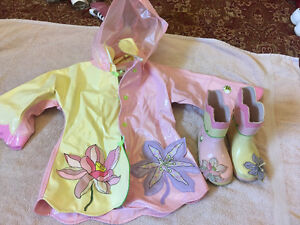 "Kidorable Girls Toddler  ""Lotus Flower"" Rain Coat and Rain Boots Kingston Kingston Area image 1"