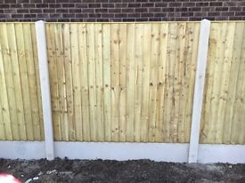 🌲Tanalised Wooden/ Timber Straight Top Close Board Feather Edge Fence Panels