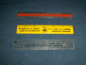 """BELL TELEPHONE-YELLOW PAGES-VINTAGE 6"""" RULER & 2 MORE!"""