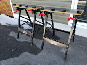 Jobmate portable adjustable saw horse benches