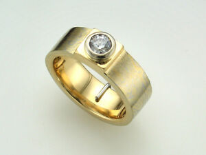 0.50ct Diamond 18k Mokume Gane Solid Gold Ring