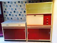 Original1950s kitchenette, kitchen cabinets, 2 matching pieces