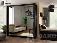 CHRISTMAS OFFER *:* BERLIN 2 DOOR WARDROBE AVAILABLE IN 3 COLOURS BLACK WALNUT WENGE , WHITE COLOURS