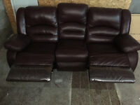 Dark Burgundy 3 Seat, 2 Attached Recliners on Each End