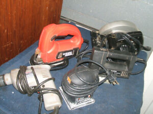 Jig saw, Circular saw, Drills, Palm sander