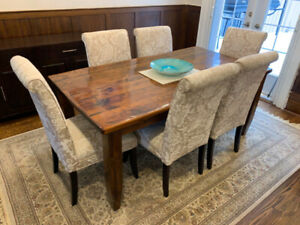 High back, upholstered dining chairs