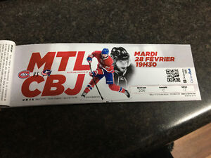 MATCH CANADIENS DE MONTREAL VS BLUE JACKET DE COLOMBUS