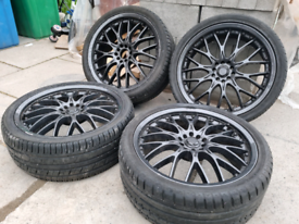 """BK Racing 19"""" Alloy wheels with tyres 5x100 and 5x112 VW AUDI SEAT"""