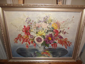 VINTAGE ORIGINAL OIL ON BOARD FLORAL PAINTING