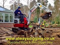 Micro & Mini Digger / Excavator For Hire With Experienced Operator /Driver.