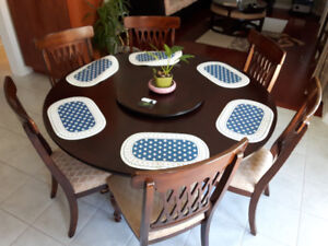 Ashley Wooden Round Dinning Table with 6-chair & Sofa set sale
