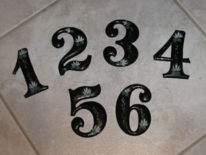 ..SIX UNUSUAL OLD DECORATIVE TIN NUMBERS...[ONE to SIX]