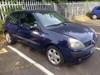 Renault Clio 2003 MOT. TAX ALLOYS