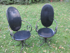 2 WROUGHT IRON REVOLVING PATIO / DECK CHAIRS