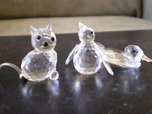 "Swarovski Crystal Figurines - "" Penguin ""- "" Duck "" - "" Cat """