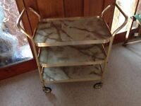 tea trolley in gilt /gold marble effect vintage retro