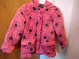 Girls Pink Flower Coat / Jacket Age 2-3 Years